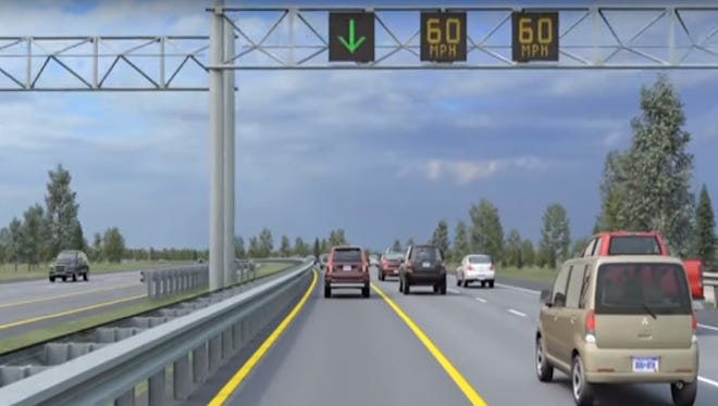 A still from a video simulation of the U.S. 23 FlexRoute traffic management system demonstrates how left shoulders will temporarily open to traffic during peak congestion times.
