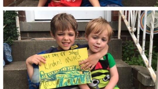 Miles and Owen from the first and last day of kindergarten.