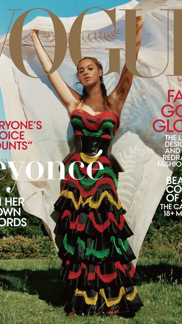 The second cover photo shows Bey in a multicolored