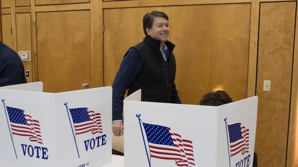 New York's 19th Congressional District Republican candidate John Faso votes at St. Paul's Episcopal Church on Tuesday, Nov. 8, 2016, in Kinderhook, N.Y.