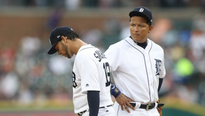 Tigers' Miguel Cabrera visits pitcher Anibal Sanchez on the mound in the second inning against the Royals,  Wednesday, July 26, 2017 at Comerica Park.