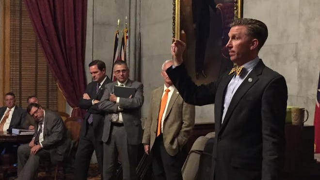 House Republican Caucus Chairman Ryan Williams instructs members of caucus about the need for holding a secret vote on whether they support the governor's gas tax proposal on Monday, April 10, 2017.