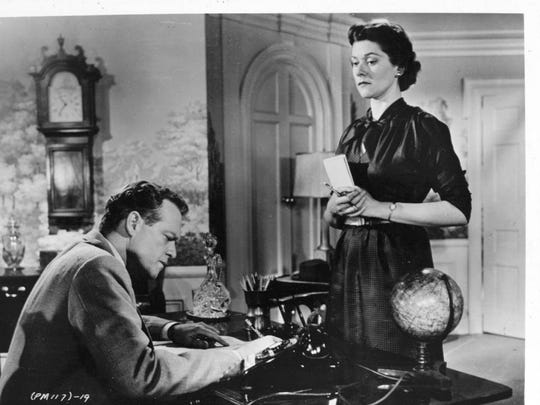 """Van Heflin struggles with his conscience when hired by a corporate shark who dangles big bucks in """"Patterns;"""" wife Beatrice Straight helps him find his way."""