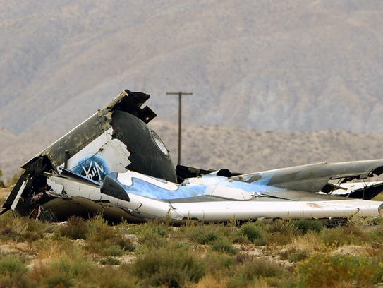 Debris from Virgin Galactic's SpaceShipTwo rests in