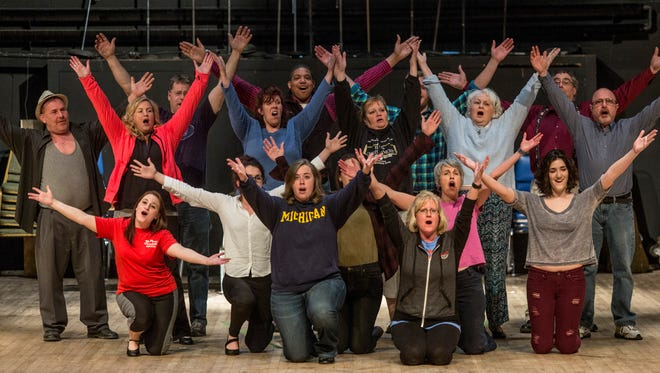 """Members of the Port Huron Civic Theater sing on stage during rehearsal for """"Kiss Me, Kate"""" Tuesday, April 26, 2016 at McMorran Theater."""