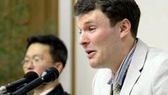 U.S. student Otto Warmbier is pictured speaking at