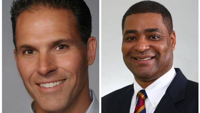 Steve Notar Donato, left, will become the manager of GM's Lansing Grand River Assembly Plant in June. Marcos Purty will become manager of Lansing Delta Township Assembly plant in July.