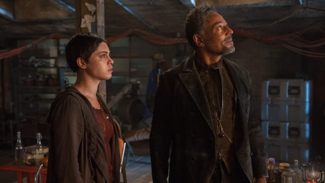 New characters Brenda (Rosa Salazar) and Jorge (Giancarlo Esposito) have a close relationship in 'Maze Runner: The Scorch Trials.'