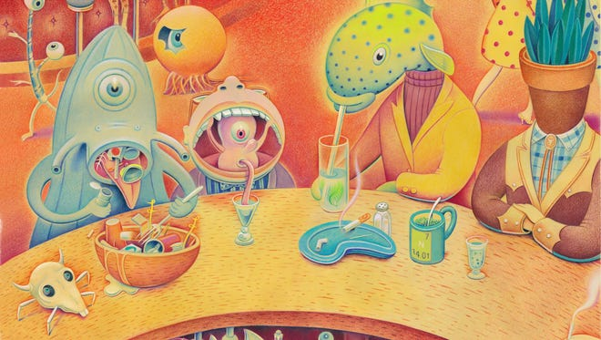 """A scene from Palm Springs illustrator Dave Calver's new graphic novel """"Limbo Lounge"""""""