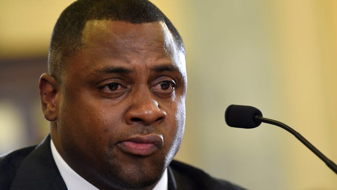 Troy Vincent, NFL executive vice president of football operations, testifies on before a Senate committee hearing on domestic abuse in sports.
