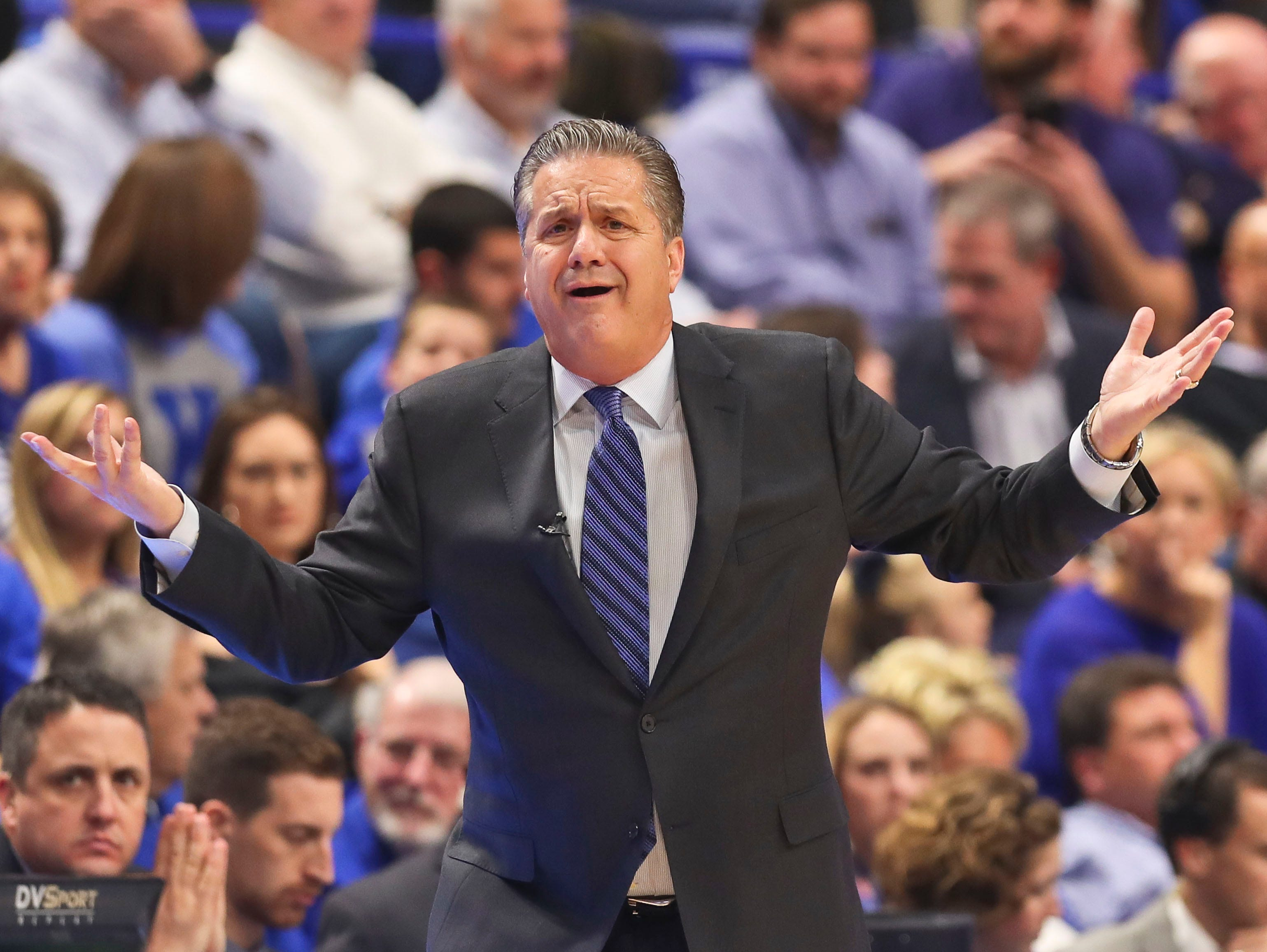 Kentucky's John Calipari was incredulous at some of the plays in the first half Friday night at Rupp Arena. UK struggled early in the first half, being down as much as 10 before leading by six at the half. Nov. 17, 2017