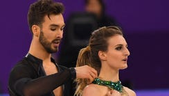 Gabriella Papadakis, right, and her ice dancing partner,
