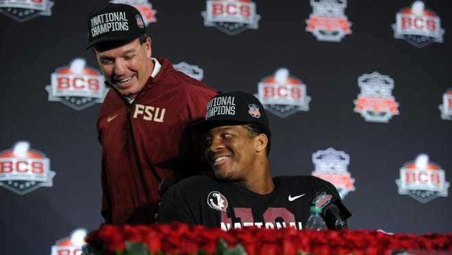 Florida State head coach Jimbo Fisher and quarterback Jameis Winston in the press conference following the BCS national championship game.