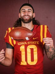 Iowa State junior quarterback Jacob Park poses for a portrait during the Iowa State football team media day at Bergstrom Indoor Practice Facility on the Iowa State campus in Ames on Thursday, Aug. 3, 2017.