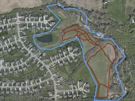 Liberty Township's 30-acre Cherokee Park is located in the Cherokee Estates subdivision, located off LeSourdsville-West Chester Road between Kyles Station and Millikin Roads. The blue lines represent the park's boundaries and the red show mowed paths.