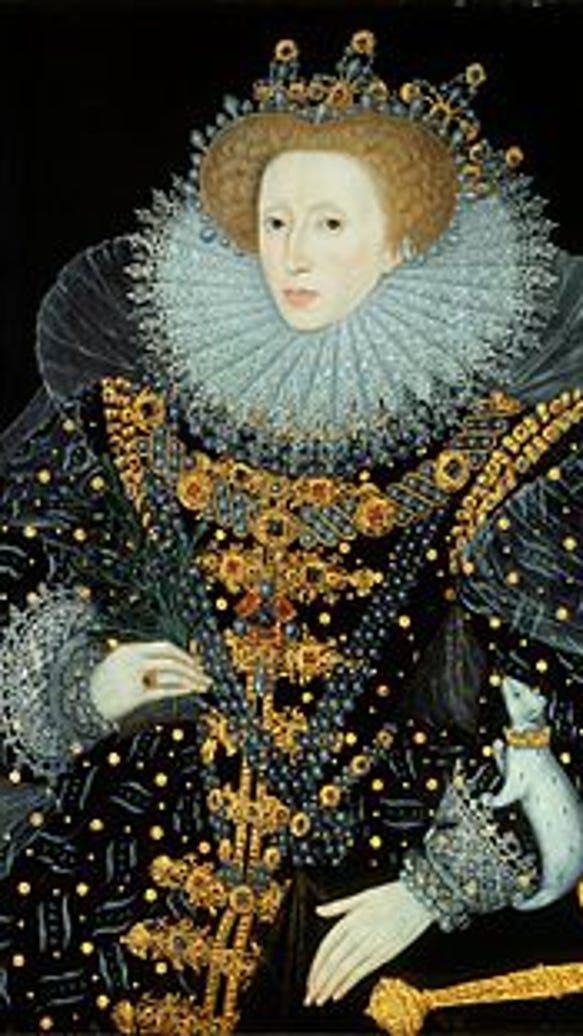 The Ermine Portrait of Elizabeth I. Attributed to William Segar and displayed in the Hatfield House.