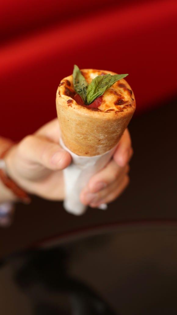 The Margherita Kono at Kono Pizza comes complete with fresh basil.