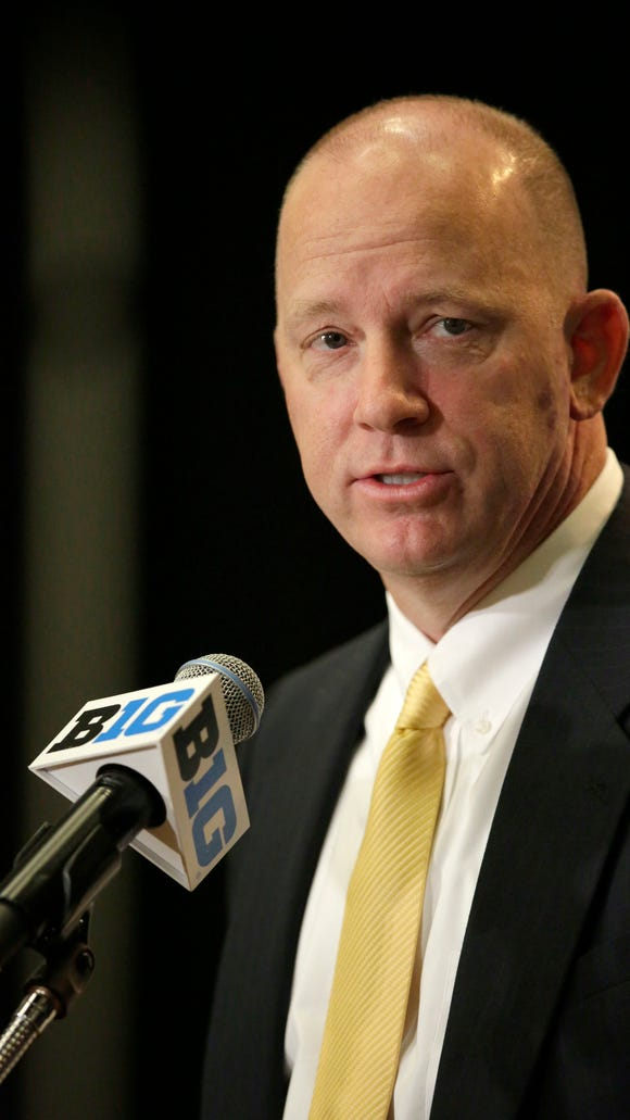 Purdue NCAA college football head coach Jeff Brohm speaks at Big Ten Media Day in Chicago, Tuesday, July 25, 2017. (AP Photo/G-Jun Yam)