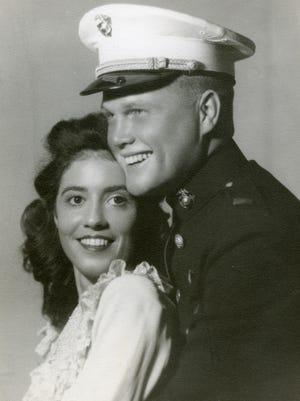 Wedding photograph of Annie Castor and John Glenn taken in 1943.