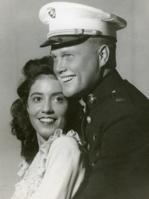 Wedding photograph of Annie Castor and John Glenn, 1943