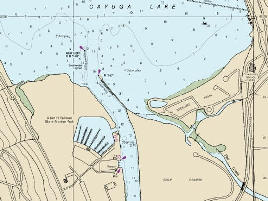 Water depths in the southern end of Cayuga Lake.