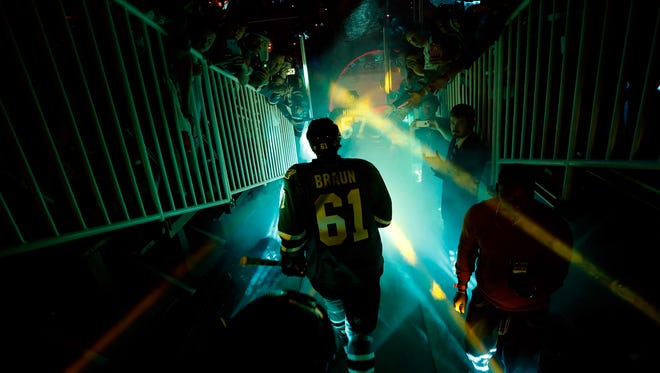 Justin Braun of the San Jose Sharks enters the ice before play against the Pittsburgh Penguins in Game 3 Saturday night.