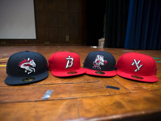 The lineup new lineup of hats for the  Binghamton Rumble