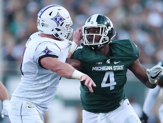 Malik McDowell playing in MSU's 2016 opener against Furman.