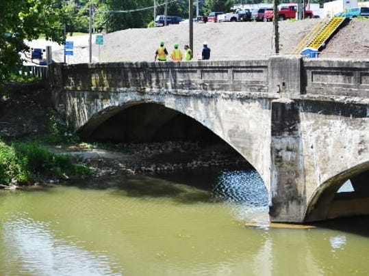 This photo shows the old Route 116 bridge, which is currently being replaced. Photo by Marc Charisse of the Evening Sun