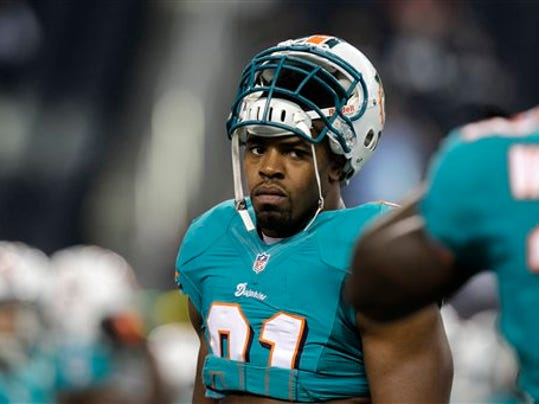 Former Nittany Lion Cameron Wake now suits up for the Miami Dolphins. (Associated Press)