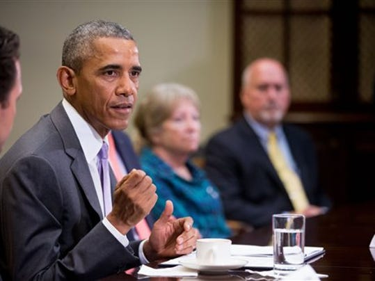 President Barack Obama meets with veterans and Gold Star Mothers to discuss the Iran Nuclear deal, Thursday, Sept. 10, 2015, in the Roosevelt Room of the White House in Washington.