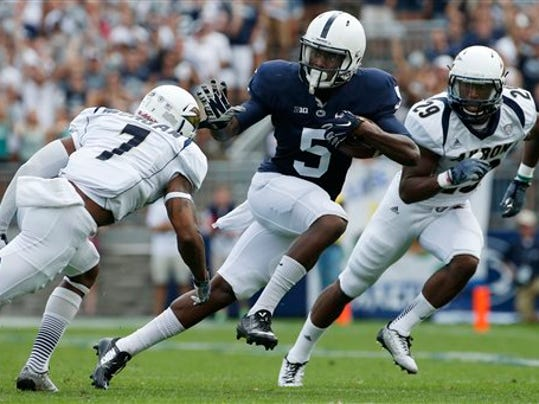 Wide receiver DaeSean Hamilton (5) will be counted on to be a playmaker for the Nittany Lions this season.