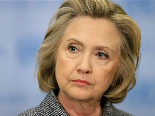 In this March 10, 2015 file photo, Hillary Rodham Clinton speaks to the reporters at United Nations headquarters.