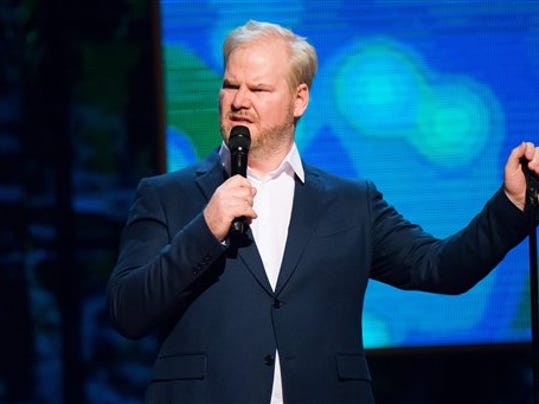 "Jim Gaffigan appears onstage at Comedy Central's ""Night of Too Many Stars: America Comes Together for Autism Programs"" at the Beacon Theatre in February. He'll perform in Hershey this week."