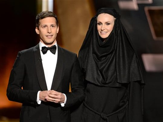 "Andy Samberg, left, said Jane Lynch will pull award winners off the stage when speeches ran too long, like the angry nun that cried ""Shame!"" in ""Game of Thrones."""