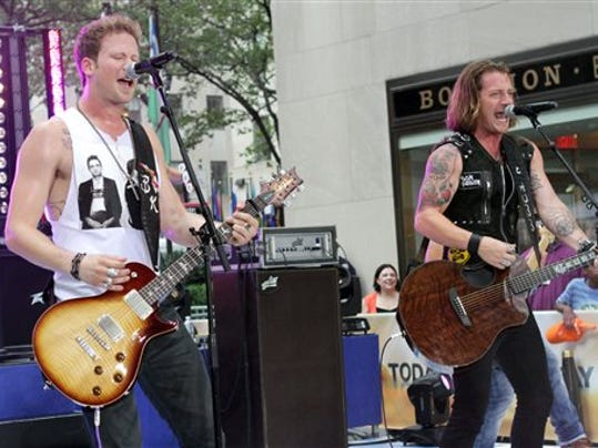 "Brian Kelley, left, and Tyler Hubbard, of musical group Florida Georgia Line, perform on NBC's ""Today"" show in New York."