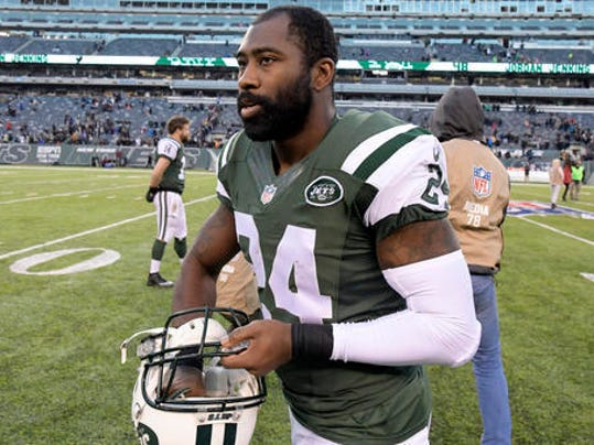In this Sunday, Jan. 1, 2017, photo, New York Jets cornerback Darrelle Revis walks on the field after an NFL football game against the Buffalo Bills in East Rutherford, N.J. Revis faces five pending charges, including two counts of aggravated assault, after allegedly being involved in a fight with two men on Sunday, Feb. 12. (AP Photo/Bill Kostroun)
