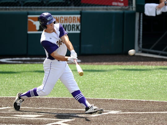 Wylie's Cameron Hanna (29) hits a 3-run triple during the bottom of the first inning of the Bulldogs' 3-1 win over Texarkana Pleasant Grove in the Class 4A UIL state baseball semifinal on Wednesday, June 7, 2017, at Disch-Falk Field in Austin.
