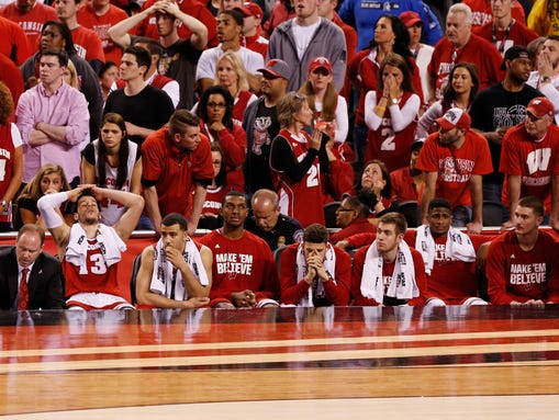 The Wisconsin bench and fans as the clock winds down.
