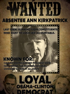 """The Arizona Republican Party has come under fire from state Democrats for this """"Wanted"""" poster showing Democratic Senate candidate Ann Kirkpatrick surrounded by bullet holes."""