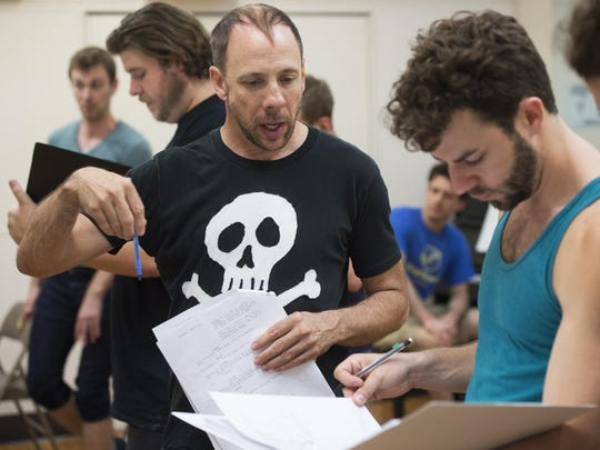 "Actors Patrick Richwood, left, and Diego Diaz rehearse their roles in ""Foolerie"" earlier this month in New York City."