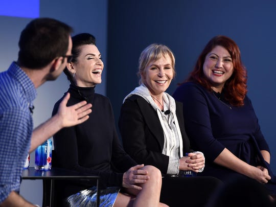 "Dietland's"" Jackson McHenry, left, Julianna Margulies, Marti Noxon and Joy Nash star in the dark comedy that involves body image."