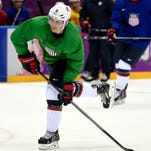 Feb 10, 2014; Sochi, RUSSIA; USA forward Zach Parise (9) during an ice hockey training session in advance of the Sochi 2014 Olympic Winter Games at Bolshoy Arena.