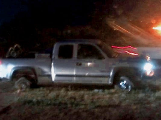 Submitted Photo   This Cherovlet Silverado pick up truck was the subject of a high-speed chase west of town on the old Frontage Road and through a Deming neighborhood in the early-morning hours of Monday.