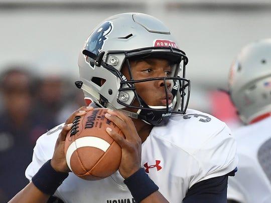 Former Howard University quarterback Caylin Newton looks to pass against UNLV.