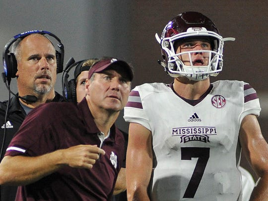 Sep 9, 2017; Ruston, LA, USA; Mississippi State Bulldogs head coach Dan Mullen and quarterback Nick Fitzgerald (7) during the first half against the Louisiana Tech Bulldogs at Joe Aillet Stadium. Mandatory Credit: Justin Ford-USA TODAY Sports