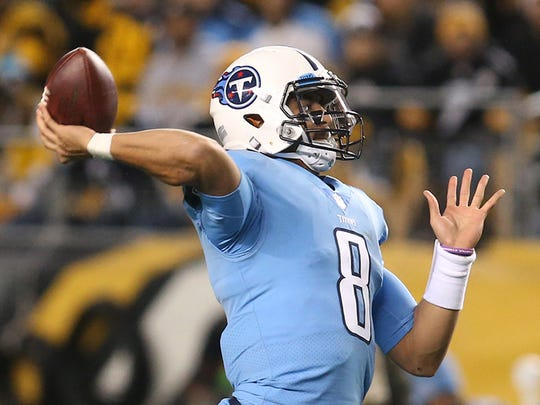 Nov 16, 2017; Pittsburgh, PA, USA;  Tennessee Titans quarterback Marcus Mariota (8) passes against the Pittsburgh Steelers during the first quarter at Heinz Field. Mandatory Credit: Charles LeClaire-USA TODAY Sports