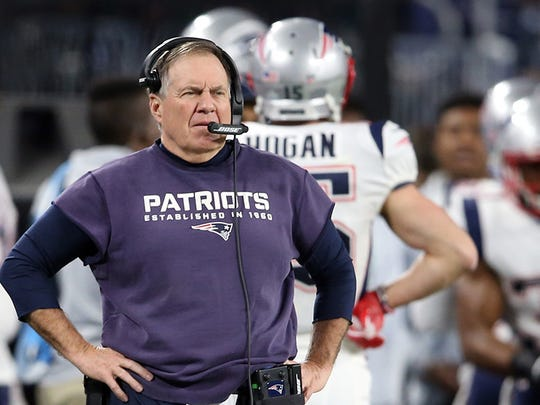 Feb 4, 2018; Minneapolis, MN, USA; New England Patriots head coach Bill Belichick on the sidelines during the first half against the Philadelphia Eagles in Super Bowl LII at U.S. Bank Stadium. Mandatory Credit: Winslow Townson-USA TODAY Sports
