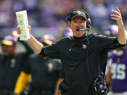 Sep 9, 2018; Minneapolis, MN, USA; Minnesota Vikings head coach Mike Zimmer argues a call during the second quarter against San Francisco 49ers at U.S. Bank Stadium. Mandatory Credit: Brace Hemmelgarn-USA TODAY Sports