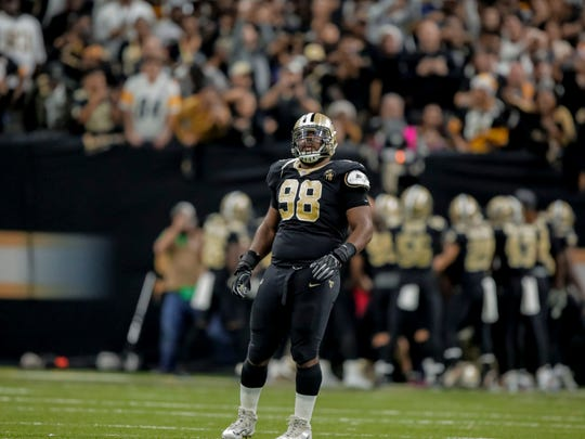 Dec 23, 2018; New Orleans, LA, USA; New Orleans Saints defensive tackle Sheldon Rankins (98) stands on the field after forcing a fumble by Pittsburgh Steelers wide receiver JuJu Smith-Schuster (not pictured) during the fourth quarter at the Mercedes-Benz Superdome. Mandatory Credit: Derick E. Hingle-USA TODAY Sports